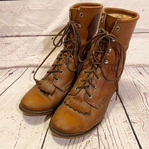Vintage Men's Laredo Lace Up Kiltie Boots Brown 8D